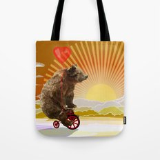 Big Bear with bicycle iPhone 4 4s 5 5s 5c, ipod, ipad, pillow case and tshirt Tote Bag