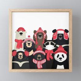 Bear family portrait: winter edition Framed Mini Art Print