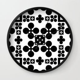 English half-timbered Tudor house pattern 2 Wall Clock