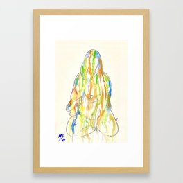 Leaning back on hand Framed Art Print