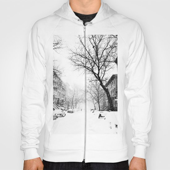 New York City At Snow Time Black and White Hoody