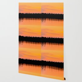Orange Sunset With Forest Reflection On Lake Wallpaper