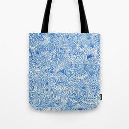 blue zentangle Tote Bag