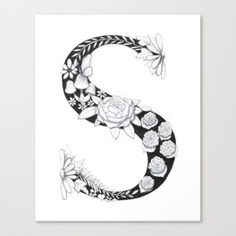 Floral Pen and Ink Letter S Canvas Print