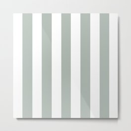 Ash gray - solid color - white vertical lines pattern Metal Print