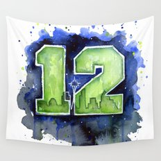 12th Man Seahawks Seattle Go Hawks Art Wall Tapestry