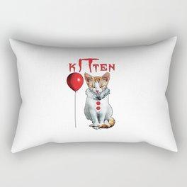 Kitten Clown Scary Fun Spooky Halloween Cat Funny Joke Rectangular Pillow