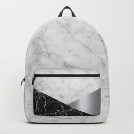 White Marble Black Granite & Silver #230 Backpack