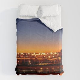 Airport Sunset Time Lapse Comforters