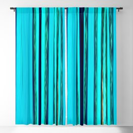 blue turquoise striped pattern Blackout Curtain