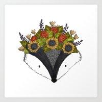 Foral Badger Art Print