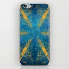 Tribal gold on blue kaleidoscope iPhone & iPod Skin