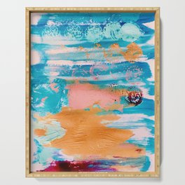 Bluebird of Happiness Abstract Painting Serving Tray