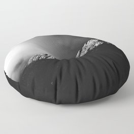 Last sun rays on the mountain in black and white Floor Pillow