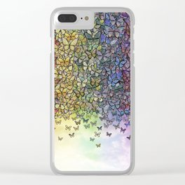 rainbow of butterflies aflutter Clear iPhone Case