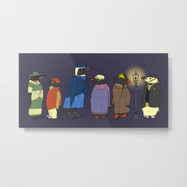 Victorian Penguins Metal Print