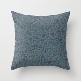 Scattered Flowers, Purple and Blue Green Throw Pillow