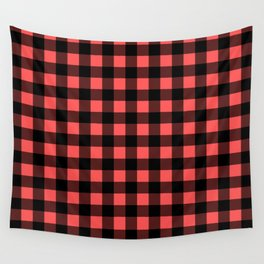 Plaid (Black & Red Pattern) Wall Tapestry