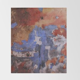 Abstract wall patchwork painting Throw Blanket