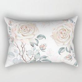 Watercolor Vintage Rose Bouquet Rectangular Pillow