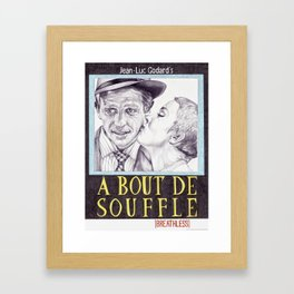 BREATHLESS (A BOUT DE SOUFFLE) hand drawn movie poster in pencil Framed Art Print