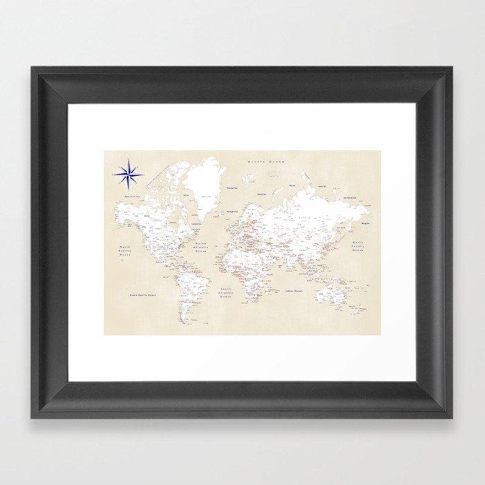 "Cream, white, red and navy blue world map, ""Deuce"" Gerahmter Kunstdruck"
