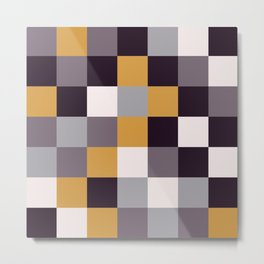 Purple and Gold Squares Metal Print