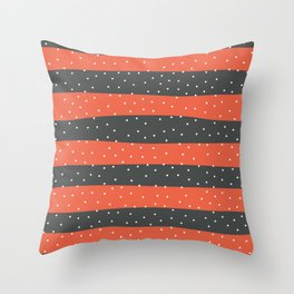 Christmas Simple seamless pattern Snow confetti on Grey and Coral Orange Stripes Background Throw Pillow