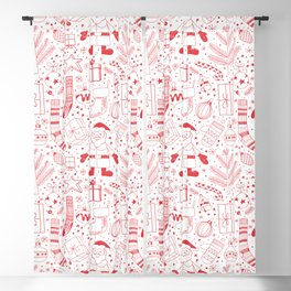 Doodle Christmas pattern red 2 Blackout Curtain