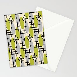 Retro Mid Century Modern Cosmic Surfer Pattern 232 Olive and Gray Stationery Cards