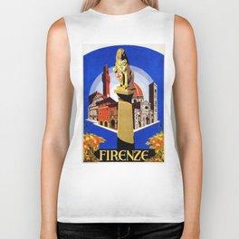 Florence Firenze travel, lion statue Biker Tank