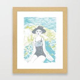 Woman on the beach 2 Framed Art Print