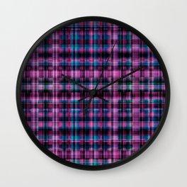 Electric Pink - Purple Plaid Wall Clock