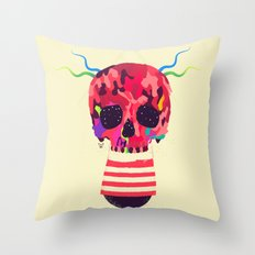 RED RED RED Cranium Throw Pillow