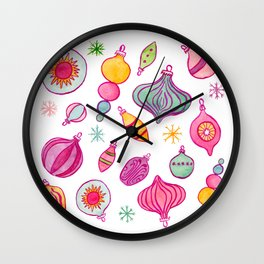 Colorful Vintage Christmas Ornaments Wall Clock
