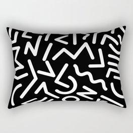 Black and White Memphis Night Rectangular Pillow