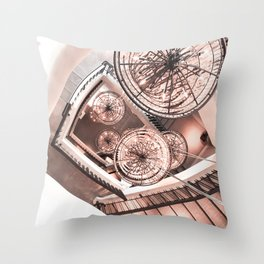 Abstract Perspective // Rose Gold Lighting Ornamental Chandelier Stairway View Throw Pillow