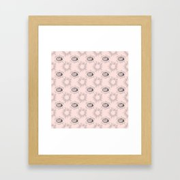 Sun and Eye of wisdom pattern - Pink & Black - Mix & Match with Simplicity of Life Framed Art Print