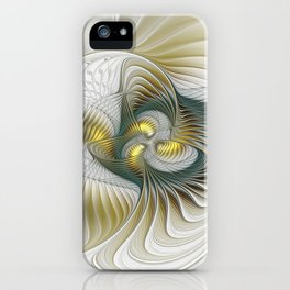 Noble And Golden, Abstract Modern Fractal Art iPhone Case