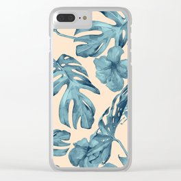 Island Vacay Hibiscus Palm Pale Coral Teal Blue Clear iPhone Case