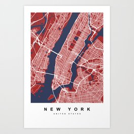 New York Map | Red & Blue Color Art Print