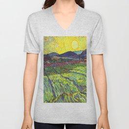 Van Gogh Enclosed Field with Rising Sun Unisex V-Neck