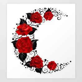 Moon of Red Roses Art Print