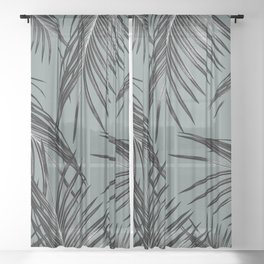 Black Palm Leaves Dream #4 #tropical #decor #art #society6 Sheer Curtain