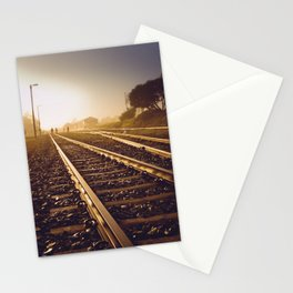 Railway Tracks at sunrise and twilight sky - Landscape Photography #Society6 Stationery Cards