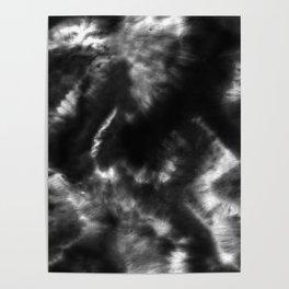 Vibrant Black and White Tie-Dye Poster