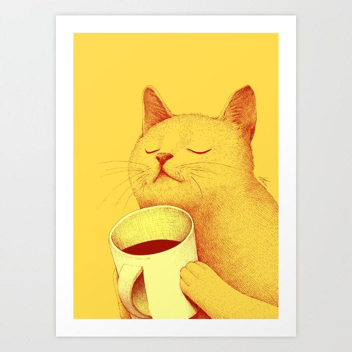 Coffe cat Kunstdrucke