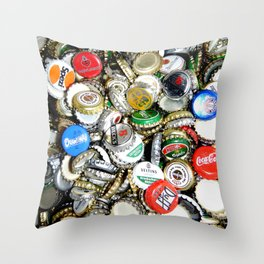 Bottle Caps Painting | Vintage Throw Pillow