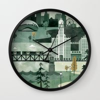travel poster Wall Clocks featuring Chicago Travel Poster Illustration by ClaireIllustrations
