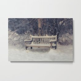 A Place to Rest, sitting bench, winter, at Creamers Field Metal Print